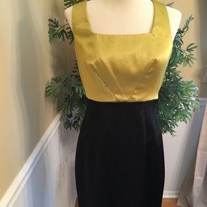 Green and black midi dress